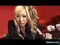Hot Blonde Asian Girl Giving Footjob And Blowjob For Guy On The Couch In The Sitting Room
