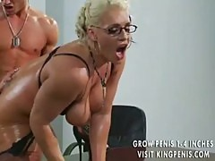 Her oiled up ass is big during anal sex