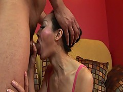 Horny asian milf deepthroats cock before hardcore fucking