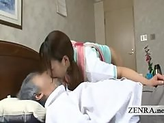Bottomless Japan nurse eaten out by horny old patient