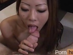 Firm titties asian sucking his white cock
