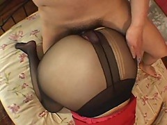Japanese hoe fucked in ripped pantyhose
