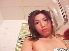 Fetish action with brunette Asian chick