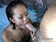 Asian slut sucks uncle jesse's cock