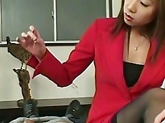 Japanese Handjob On Desk