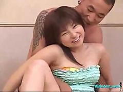 Asian Girl In Jeans Skirt Fingered Stimulated With Vibrators While Suckin Guys On The Bed