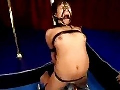 Shorthaired girl tied in different positions pussy stimulate