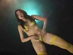 Sexy Slut Asian Girl Bikini Dancing Strips And Flashes