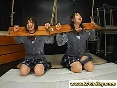 Two Bound Asian Schoolgirls Forced To Suck Cocks And Get Messy Facials