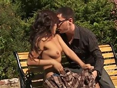 Smutty Asian Babe Kaylani Lei Gets Fucked and Covered In Jizz Outdoors