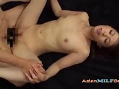 Milf Sucking Guy Getting Her Pussy Fucked By Young Guy Creampie On The Bed