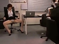 Office lady showing off her panty jerking guy cock rubbing w
