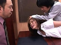 Yuma Asami forced to strip at the office for sex