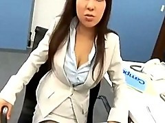 Office lady in pantyhose watching jerking guy who cumming to