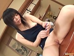 Up close admiration of shaved Japanese pussy