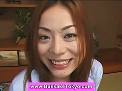 Japanese cutie swallowing sperm