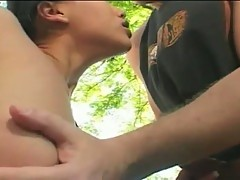 Pretty asian chick fucked hard in the nature