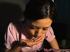 Asian nurse gives a hot blowjob