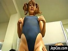Chubby Japanese Whore Wearing A Tight Blue One Piece-swimsuit Takes On Two Old Men