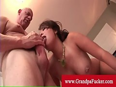 Asian london babe enjoys old man cock