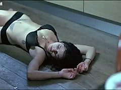 Sensual Asia Argento Wearing a See-Through Bra and Tight Black Panties
