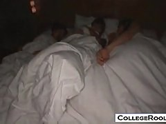 College guy fucking 3 sleeping japanese chicks