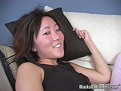Horny asian bitch pounded hard by black cock
