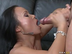 Alluring Mya Luanna gets a cum shot in her mouth from a big cock