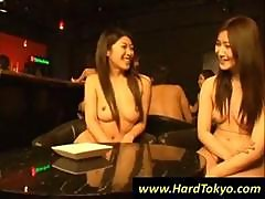Naked Asian Bartenders Serving Naked Drunk Girls At The Bar