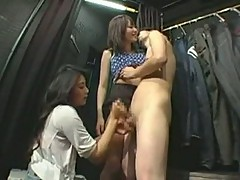 Handjob in dressing room